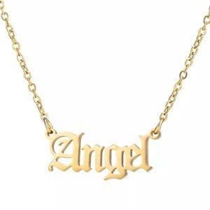 Angel Old School Golden Necklace